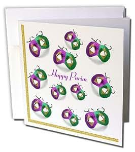 Florene Jewish Themes - 紫色和绿色钱包面具和快乐的钱包 - 贺卡 Set of 12 Greeting Cards