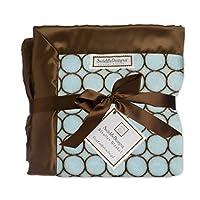 SwaddleDesigns婴儿车毛毯,棕色圆圈图案 蓝色/棕色 30 英寸 x 40 英寸
