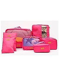 【买2件减5元 3件减10元】奈菲乐NAPHELE 旅行收纳袋七件套 防水行李分装整理包 收纳包 TB25 (玫红色)