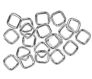 uGems 方形跳环纯银和 14K 金填充各种尺寸开合或闭合 银色 4mm closed g-2715