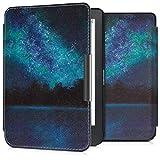 kwmobile Case for Kobo Clara HD - Book Style PU 皮革保护套 e-Reader Cover Folio Case - 白色/黑色45220.23_m001201 .Cosmic Forest blue/black