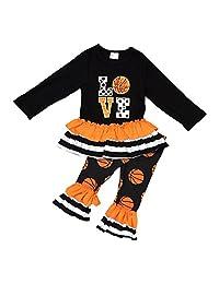 小女孩儿童长袖爱心篮球褶边七分裤 2 件套 2T-8