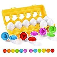 匹配鸡蛋 12 件套颜色和形状识别分类拼图 - 幼儿玩具 - 教育颜色和数字识别技能学习玩具 - 复活节彩蛋 Montessori 礼物 适合 1 2 3 岁幼儿