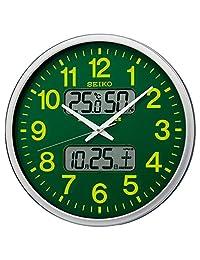 セイコー クロック 掛け時計 電波 アナログ 集光樹脂文字板 カレンダー 温度 湿度 表示 銀色 メタリック KX237H SEIKO