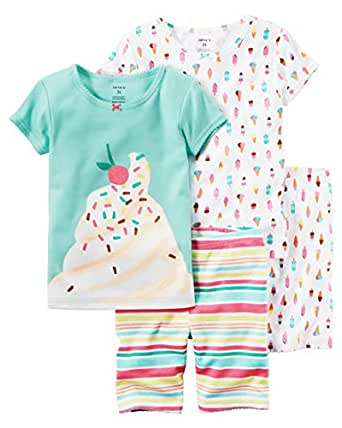 Carter ' s 女童4件装舒适修身棉质睡衣