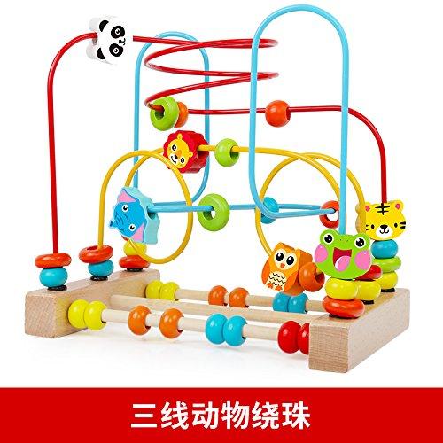绕珠串珠婴儿童益智玩具积木女宝宝6-12个月0-1-2-3周岁8男孩早教id=549393587053 (榉木三线动物)
