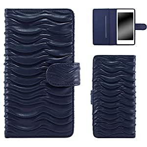 Whitenuts 手机保护壳 翻盖型 波浪WN-OD451649_S 6_ スマートフォン for ジュニア2 SH-03F 藏青色