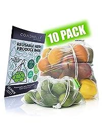 COACHELLA 可重复使用产品袋可水洗(10 个装)重型再生网存储袋,适用于水果、蔬菜、食品|环保玩具袋,无浪费 | 销售小巧便携网状产品袋