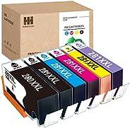 HiServicer 6PACK 兼容 PGI-280XXL CLI-281XXL 墨盒替換件 適用于佳能墨盒 280 281 PGI 280 XXL 適用于 PIXMA TS8120、TS9120、TS8220、TS6