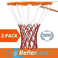 BETTERLINE 2 只装篮球网 | 重型优质全天候厚网 | 多包 - 12 个环网 (红色和白色) - 2 个装篮球网 - 室内外使用
