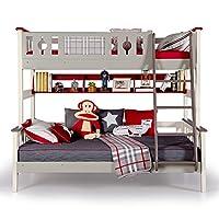 aok 多喜爱 儿童床 松木双层床双人上下铺床成人实木高低子母床 (1.2 * 2.0m,高低床+书架)