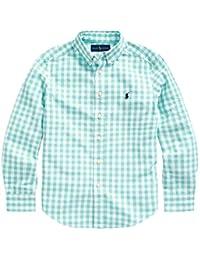 Polo Ralph Lauren 保罗拉夫劳伦男孩格子棉府绸系扣衬衫