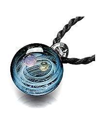 JOVIVI 自然光芒工作玻璃宇宙星系珠吊坠项链,星云丝带旋律神,独特的特殊星球空间宇宙设计 #1 AJ101010102173
