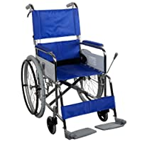 CFG Manual Wheelchair with Attendant Operated Brakes, Blue
