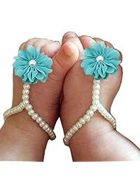 一双装婴儿珍珠雪纺赤脚花沙滩凉鞋