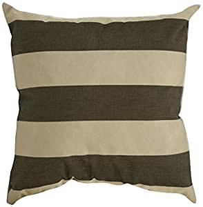 Mansion Striped Outdoor Pillow Brown and Tan 6-Inch