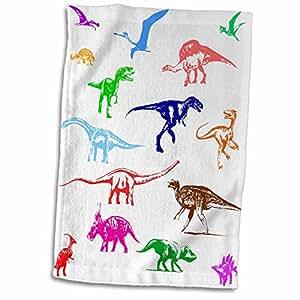 3dRose Alexis 设计 - 恐龙 - 白色上有恐龙、苍鹭和猛龙的彩色图像 - 毛巾 白色 15x22 Hand Towel twl_286496_1