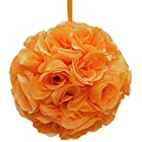 Firefly Imports Flower Kissing Balls Pomander Pom Pom Wedding Centerpiece, Orange