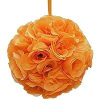 Firefly Imports Flower Kissing Balls Pomander Pom Pom Wedding Centerpiece, Orange