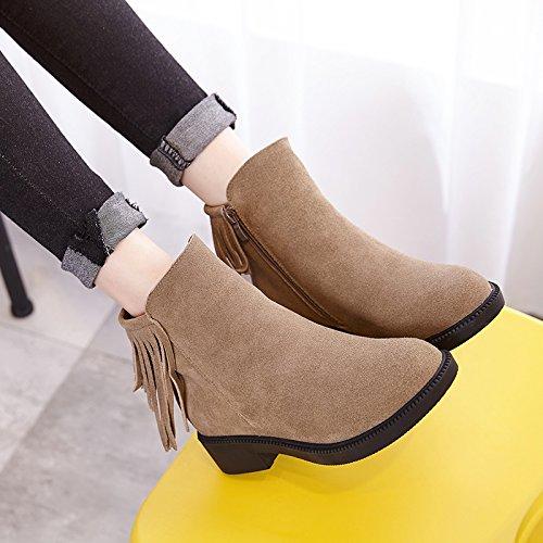 kebule 克卜勒 短靴女 秋冬真皮流苏侧拉链粗跟加绒保暖女靴 中高跟棉靴冬季雪地靴 内增高