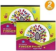 Emraw 40.64 厘米 X 30.48 厘米手指画纸垫无吸水光滑表面非常适合手指涂料儿童幼儿 - 每包 20 张(2 包)