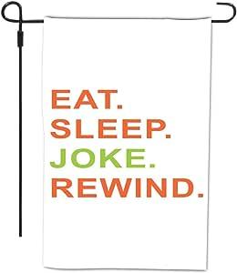 Rikki Knight Eat Sleep Joke Rewind 橙色和*设计装饰房屋或花园全出血旗帜,30.48 x 45.72 厘米