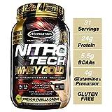 MuscleTech NitroTech 金版纯乳清蛋白粉,乳清分离物及乳清肽,香草味,2.2 磅(约 997.9 克)