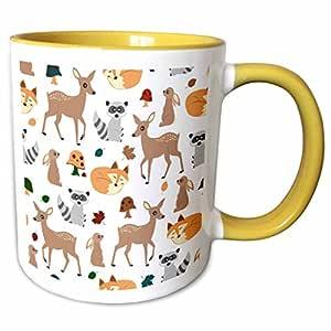 janna salak 设计林地动物手机壳–林地动物图案 FAWN 狐狸浣熊兔子–马克杯 黄色/白色 11-oz Two-Tone Yellow Mug
