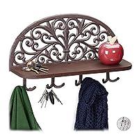 Relaxdays 带架子的墙面衣柜,复古设计,4 个双钩,钥匙板,铸铁,高宽深:23x39x11.5 厘米,颜色选择 棕色 1 Stück 10028988_93