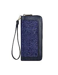 女士双拉链环绕 PU 皮革钱包和手机手拿包 - RFID 屏蔽卡片夹收纳包带腕带