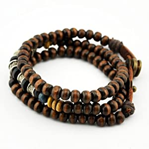 November's Chopin Charm Unique Metal Tube Wood Beads Adjustable Wrap Bracelet