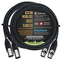 2 件 - 10 英尺 - Gotham GAC-4/1(黑色) - 星形四頭形,雙屏蔽平衡公對母麥克風線纜帶安酚 AX3M 和 AX3F 銀色 XLR 連接器 - 由 WORLDS BEST 電纜定制