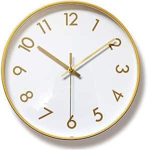Foyou 30.48 厘米静音金属框架装饰挂钟电池供电无吸附,适合客厅、卧室、办公室 1 HAUK06701B