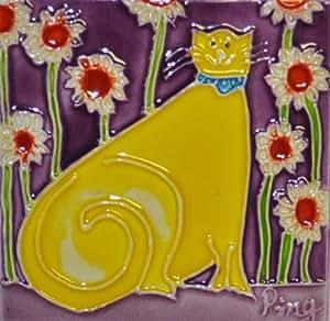 Continental Art Center M-108 3 x 3 英寸卡通猫 2 陶瓷磁铁