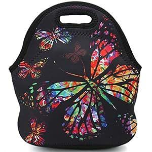 午餐袋 氯丁橡胶隔热午餐手提袋 食品架 可重复使用 成人 女士 儿童 男孩 女孩 男士午餐盒 适用于上学、办公室、户外旅行野餐 漂亮的蝴蝶