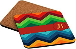 """Rikki Knight Letter """"B"""" Initial on Zig Zag Design Cork Backed Hard Square Beer Coasters, 4-Inch, Brown, 2-Pack"""