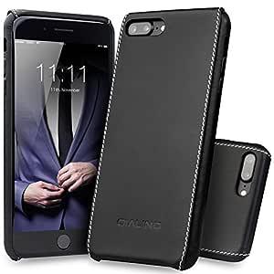 iPhone 7 Plus 手机壳,QIALINO 超薄真皮后盖保护壳适用于 iPhone 7 Plus ,时尚耐用EL-253223 iPhone 8 Plus /7 Plus Black - Plain Pattern