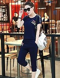 DVG 闲运动套装女夏2017新款短袖七分裤两件套显瘦短袖卫衣开衫套装跑步休闲运动服女潮 DW8156