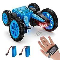 NONZERS 遥控特技汽车玩具手表手势传感器汽车双面可变形360°旋转电动汽车 LED 灯带2节电池,适合儿童