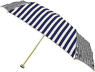 BISANY 折叠伞 晴雨两用 条纹 6根伞骨 50cm 轻量 玻璃纤维 隔离紫外线 80% 以上 藏青色 使用時サイズ(全長×直径):約50cm×約87cm、収納時サイズ(全長×幅×奥行):約24cm×約7cm×約5cm -