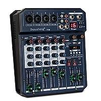 Depusheng T6 便携式6声道声卡混合控制台音频混音器内置 16 DSP 48V 幻像电源支持 BT 连接 MP3
