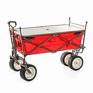 Everyday Sports 高端一体式全地形户外实用露营车包括可折叠四轮车和折叠桌,带雨伞杆护圈 红色 71BT