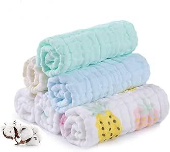 Baby Muslin 毛巾,柔软新生儿面巾,多功能天然棉质婴儿运动毛巾,6 件套六层,30.48 x 30.48 厘米