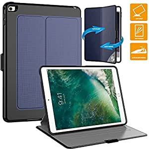 iPad 保护套 ipad air 2保护套 seymac PC + TPU + 皮革 hybird 防震保护套带自动唤醒/休眠套适用于 Apple Ipad Air 2 Drak Blue