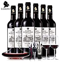 【法国原瓶进口红酒】波尔多AOC级 圣亚当伯爵干红葡萄酒整箱装 买就送醒酒器+红酒杯子+酒具3件套
