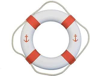 手工制作的航海装饰经典装饰锚生活戒指带吊带 海滩家居装饰配件 白色/橙色 20英寸 Lifering 20-429
