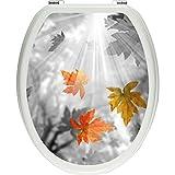 Pixxp/3D WCS 7404 32x40 草本秋叶 A 马桶盖贴纸,WC,马桶盖,Gläzendes 材质 黑色/白色,40 x 32 厘米