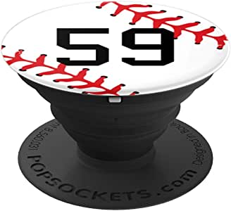 棒球号码 59 针织制服礼品球员礼物送给男孩 - PopSockets 手机和平板电脑的抓握和支架260027  黑色