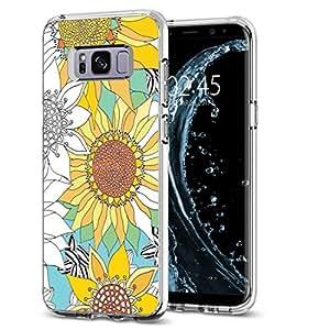 S8 Plus TPU 手机壳,Jolook 360 保护纤薄 TPU 透明设计手机壳适用于三星 Galaxy S8 Plus - 迷人花卉 D-24