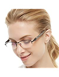 OCCI CHIARI Women Shining Rectangular Metal Optical Eyewear Frame With Clear Lenses
